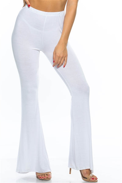 High Waist Stretch Cotton Bell Pants - White