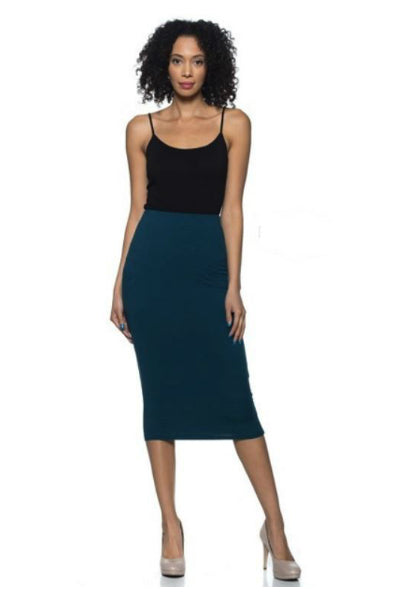 'Pencil You In' Stretch Jersey Knit Midi Skirt - Dark Teal