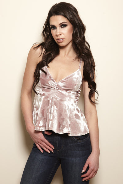 Stay With Me Velour Animal Print Peplum Cami - Rose Gold - Vixen Boutique