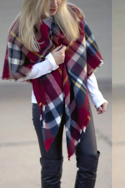 Oversized Tartan Plaid Blanket Scarf - Burgundy - Vixen Boutique