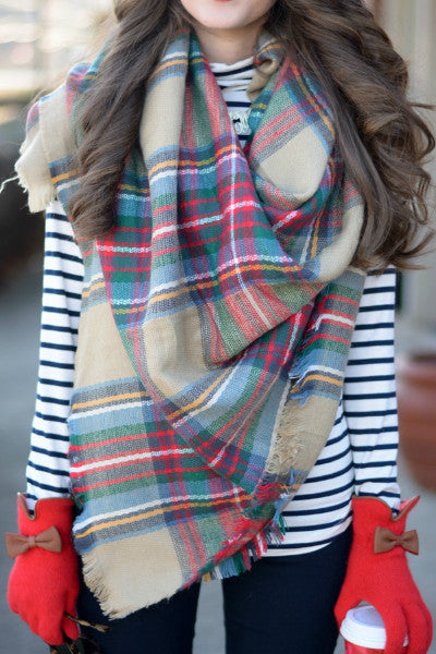 Oversized Tartan Plaid Blanket Scarf - Tan - Vixen Boutique