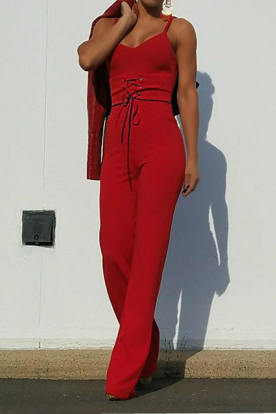 'Say No More' Sleeveless Flare Bottom Corset Jumpsuit - Red