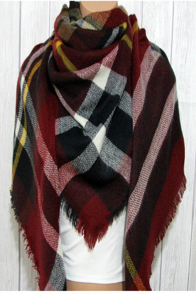 Tartan Plaid Triangle Scarf - Burgundy - Vixen Boutique