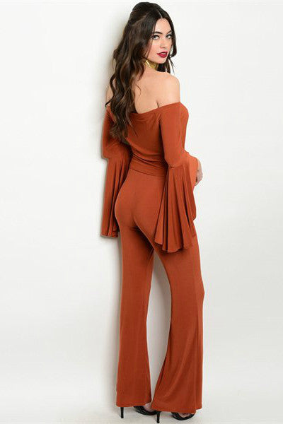 She's On Fire - Two Piece Flared Pants Set - Rust - Vixen Boutique