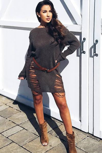 Slashed Distressed Oversized Sweater Jumper Dress - Olive