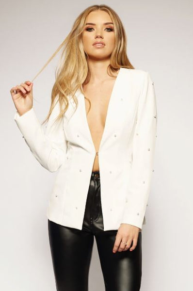 'Miss Independent' Pearl Detail Fitted Blazer (Ivory) - Vixen Boutique