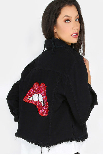Red Sequin Lips Denim Distressed Jacket - Black