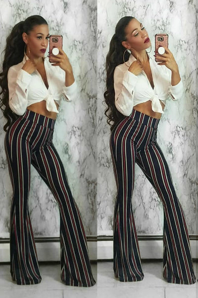 Burgundy Striped High Waisted Bell Bottom Stretch Pants | Style Loft