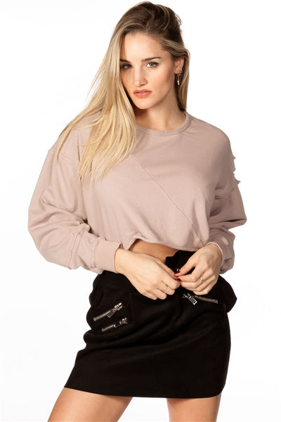 'Don't Distress Me Out' Cropped Gray Raw Hem Distressed Sweatshirt - Mauve