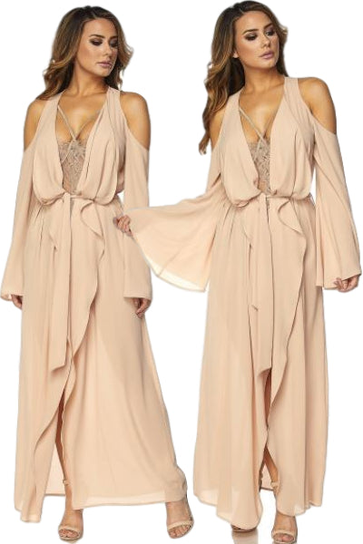 'Neverland' Chiffon Cold Shoulder Waterfall Maxi Duster - Taupe - Vixen Boutique