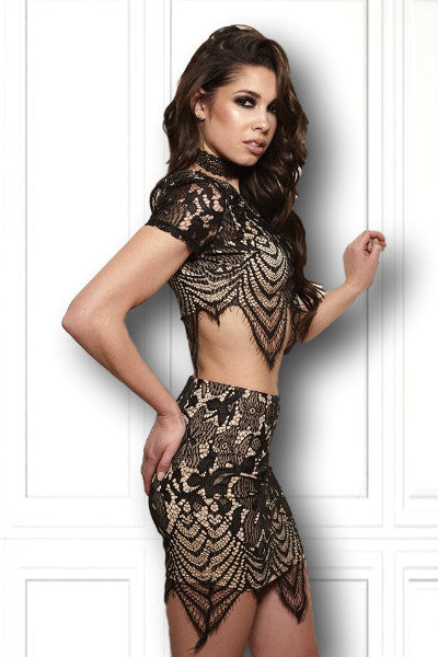 Stardust Two Piece Lace Skirt + Crop Top Set - Vixen Boutique