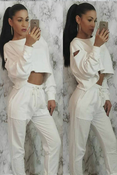 'Don't Distress Me Out' Cropped Raw Hem Distressed Sweatshirt - White - Vixen Boutique