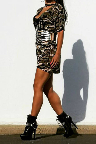 **USA SELLER** New  Women's Army Print Oversized Choker T-Shirt Dress