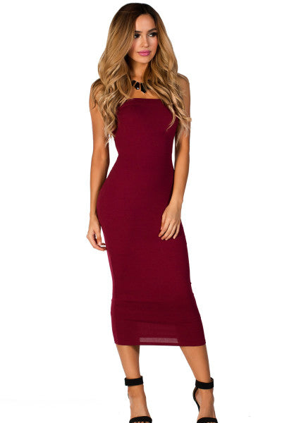 'It Girl' Seamless Stretch Knit Strapless Tube Dress - Burgundy - Vixen Boutique