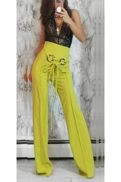 High Waist Lime Green Flare Leg Pants | Style Loft