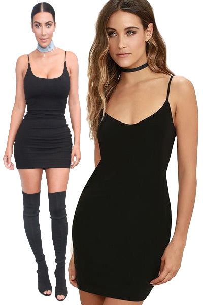 'Off Topic' Solid Seamless Cami Tank Dress - Black - Vixen Boutique