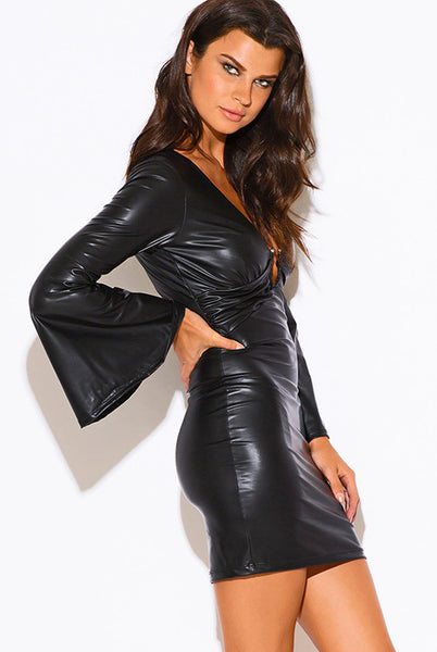 Like A Boss Faux Leather Bell Sleeve Party Dress - Black - Vixen Boutique