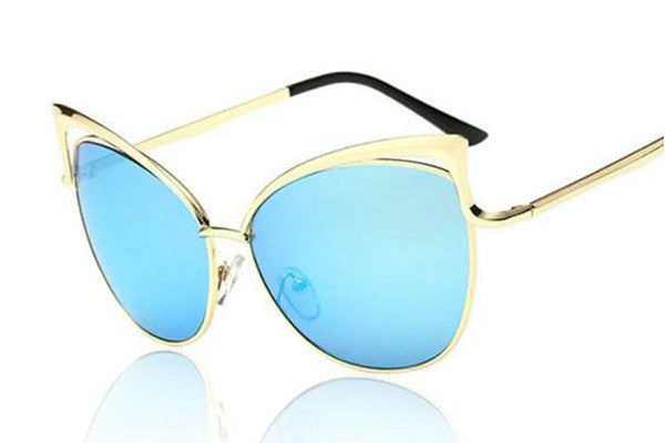 Designer Inspired Vintage Cat Eye Mirror Sunnies - Ocean Blue - Vixen Boutique