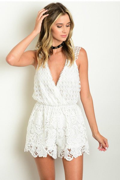 'Whispers In The Wind' Crochet Romper - White - Vixen Boutique
