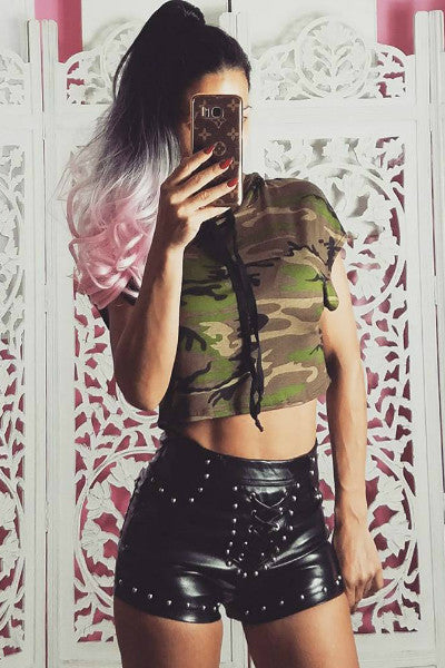 Camo Crop Top Cap Sleeve Hoodie - FINAL SALE - Vixen Boutique