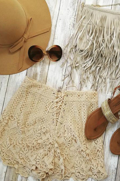 Lace Up Crochet High Waist Shorts - Taupe