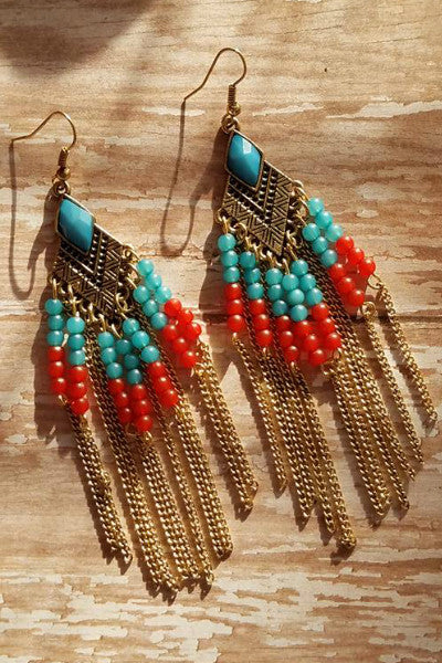 Beaded Chain Drop Earrings - Turqouise, Red + Gold - Vixen Boutique