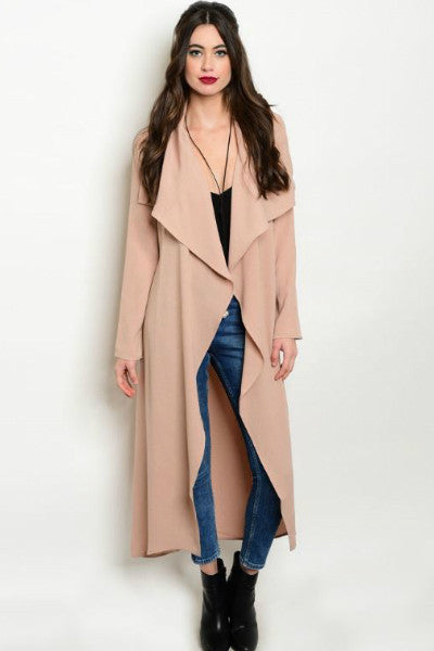 Naomi Waterfall Draped Duster- Dusty Pink - Vixen Boutique