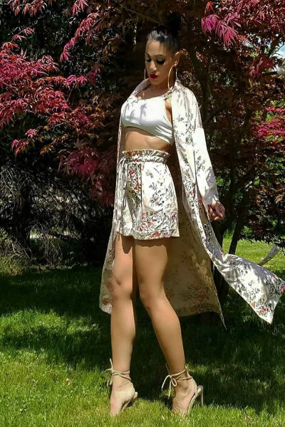 'Eastern Philosophy' Floral Print Kimono Two Piece Set - Beige - Vixen Boutique