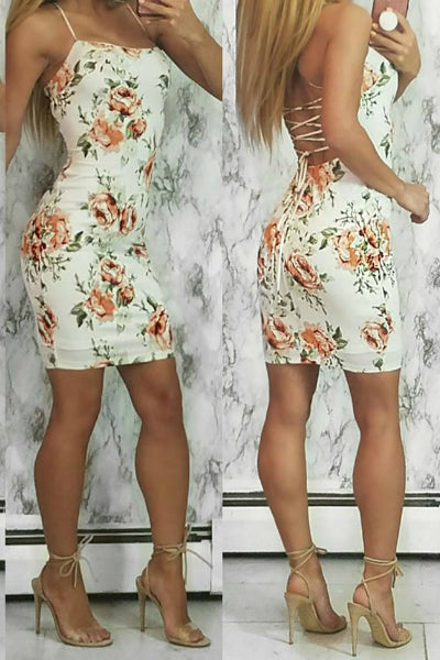 'Weak In The Knees' Floral Print Strappy Back Mini Dress - Ivory & Orange - Vixen Boutique