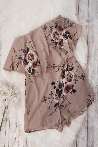 Jayda Strapless Ruffle Top Floral Romper - Taupe