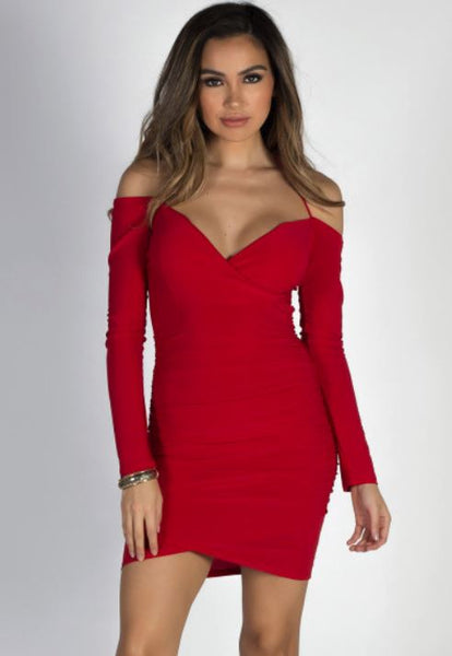 Red Ruched Off The Shoulder Bodycon Dress | Style Loft