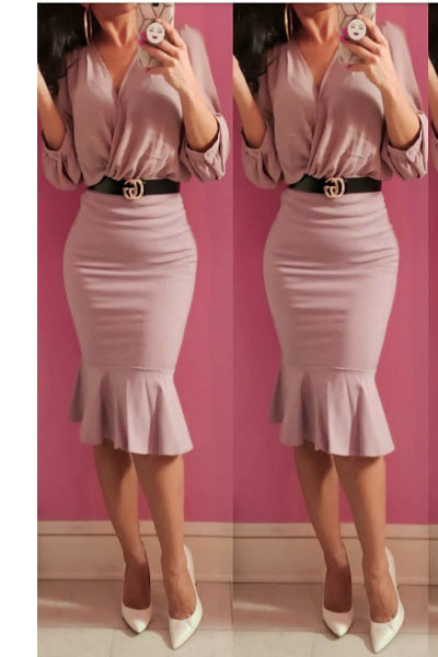'Massiel' Trumpet Midi Skirt - Rose