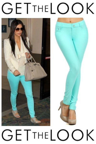 Solid Color Jeggings - Mint
