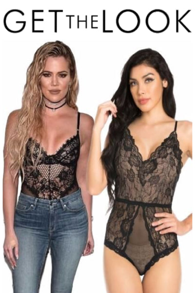 Khloe Kardashian Inspired Sheer Lace Bodysuit - Black