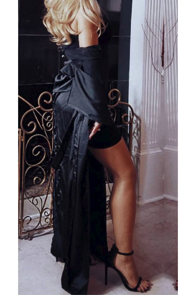 Satin Belted Duster Coat - Black
