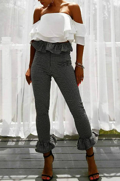 Gingham Frill Waist and Hem Cropped Pants