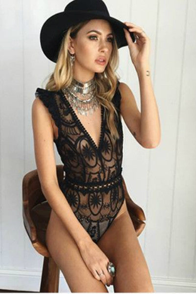 Plunge Neck Sheer Lace Bodysuit - Black