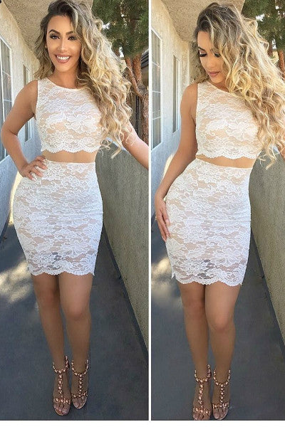 Simple Elegance Sheer Illusion Lace Bodycon Dress - Ivory