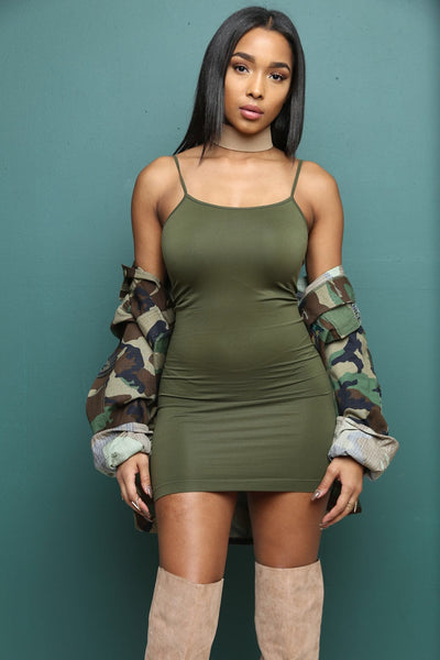 'Off Topic' Solid Seamless Cami Tunic Dress - Olive - Vixen Boutique