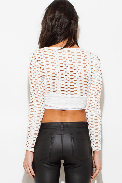 See Through You Netted Long Sleeve Crop Top - Ivory - Vixen Boutique