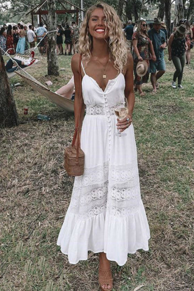 Boho Flowy White Summer Dress | Style Loft