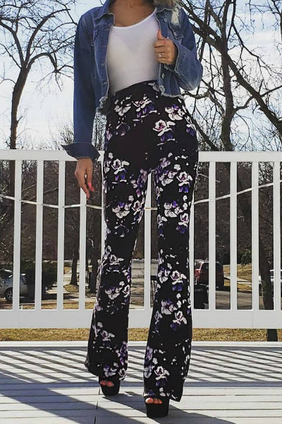 Floral Print Palazzo Pants - Purple/Black