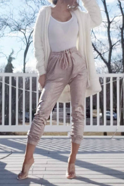Metallic Faux Suede Joggers - Blush