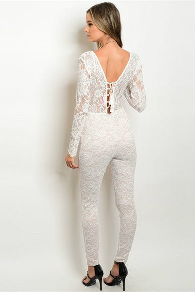 Selena  All Over Lace Jumpsuit - Ivory / Blush