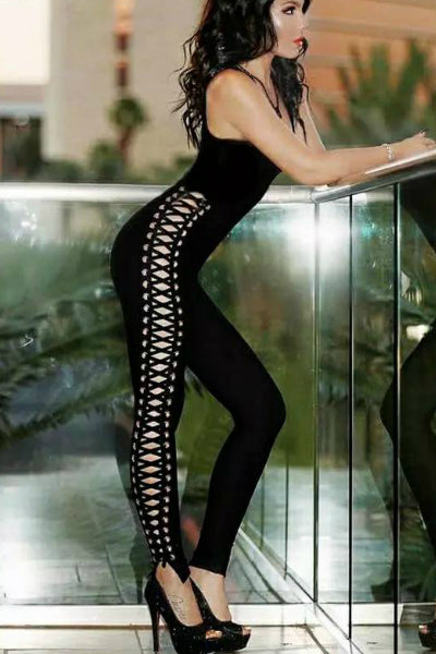 Ariana Side Eyelet Lace Up Catsuit - Black
