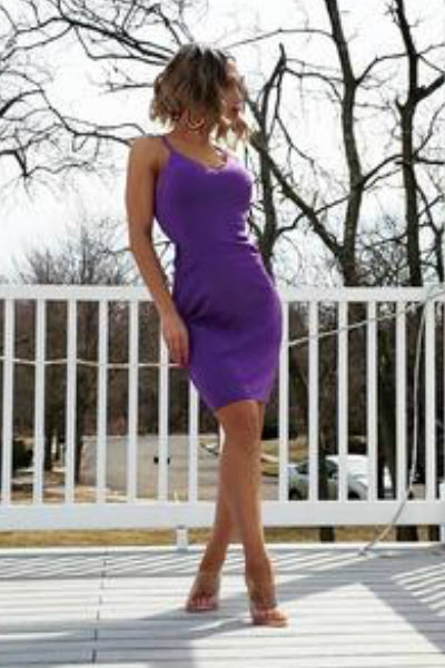 'Valencia' Mini Dress - Purple