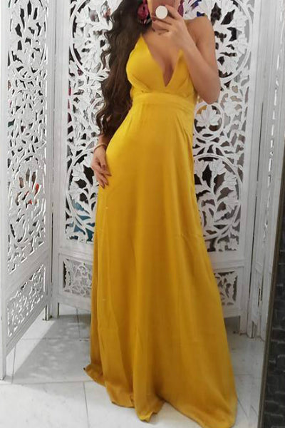 Mustard Yellow Satin Maxi Dress | Style Loft