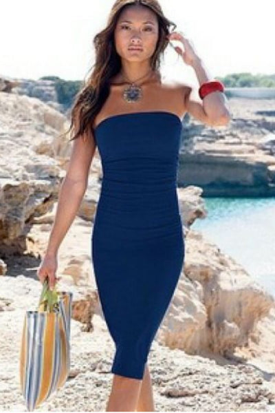 'It Girl' Seamless Stretch Knit Strapless Tube Dress - Navy