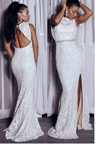 Lace Mermaid Maxi With Rhinestone Waist - Ivory
