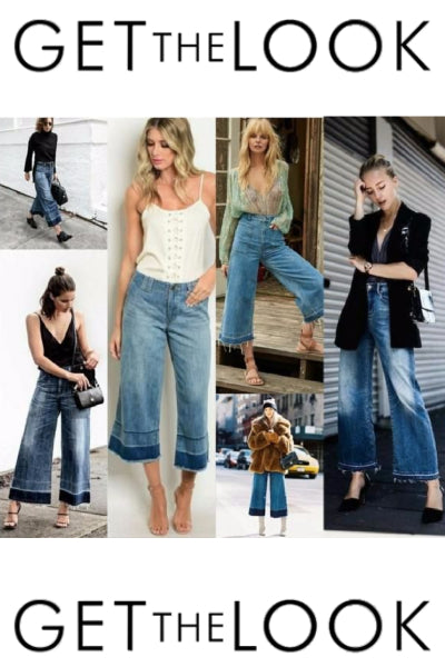 Denim Two Tone Raw Hem Wide Leg Cropped Jeans - Blue